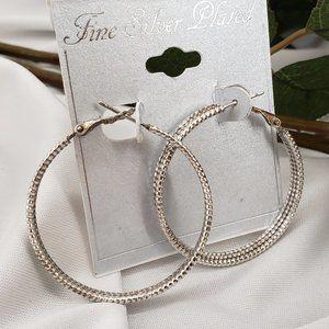 Silver Plated Hoop Earrings NWT